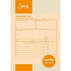 Zakázkový list A5, NCR - Optys